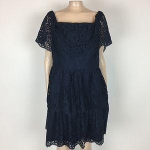 Eliza J Women's Dress 16 XL Blue Floral Lace XX30